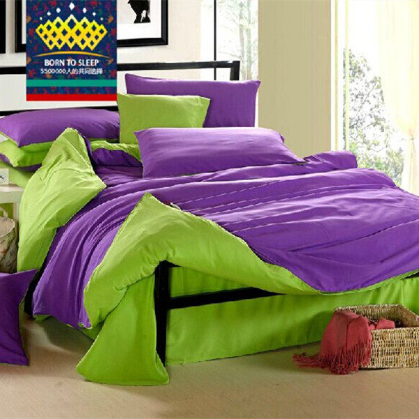 Purple Green Solid Bed Covers Bedding Bed Sheet Sets