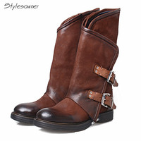 Rome Style Genuine Leather Buckle Flat With Bottom Boots Zipper Side Round Toe Over The Ankle