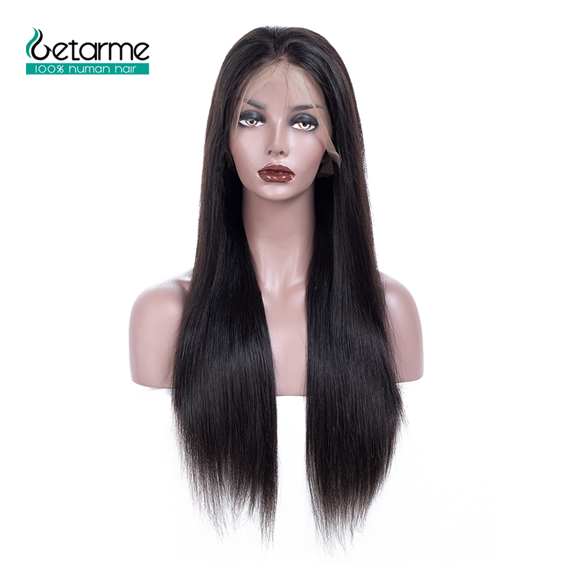 Human-Hair-Wigs Lace-Frontal Density Glueless Pre-Plucked Black Non-Remy Straight Women title=