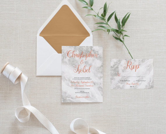 Rose Gold Marble Wedding Invitations With Rsvp In Cards