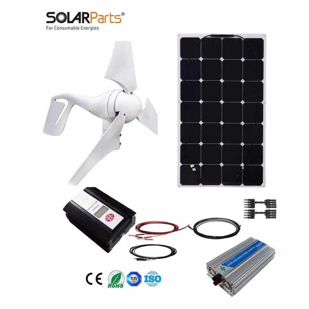Boguang 1x 400W Wind Turbine+100W Solar Hybrid solar system DIY kit solar panel home house module mobile dc 12v/24v off grid tie