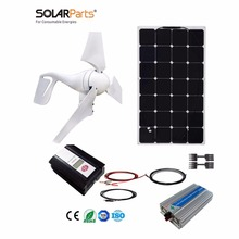 Boguang 1x 400W Wind Turbine+100W Solar Hybrid solar system DIY kit solar panel home house module mobile dc 12v/24v off grid tie