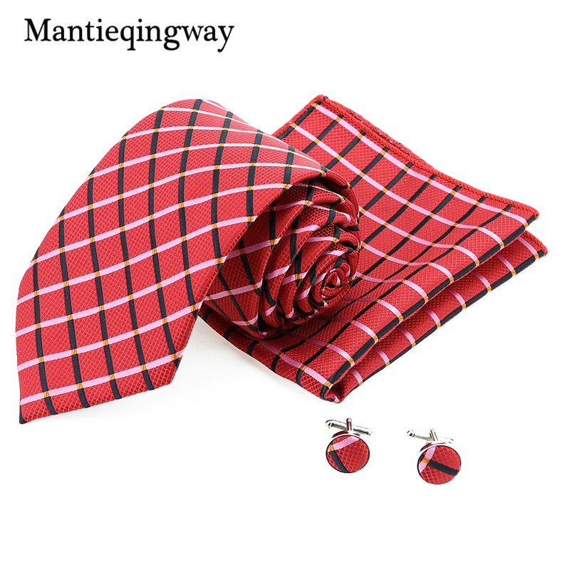 Striped Plaid Polyester 8.5cm Neck Tie Pocket Square Cufflinks Sets For Men Groom Jacquard Wedding Brand Neckties