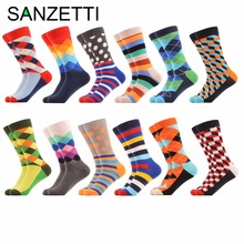 SANZETTI 12 pairs/lot Men's Colorful Diamond Pattern Combed Cotton Casual Crew Socks