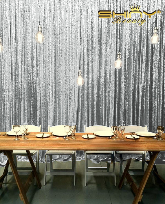 9ftx9ft Silver Sequin Curtain Backdrop Silver Fabric