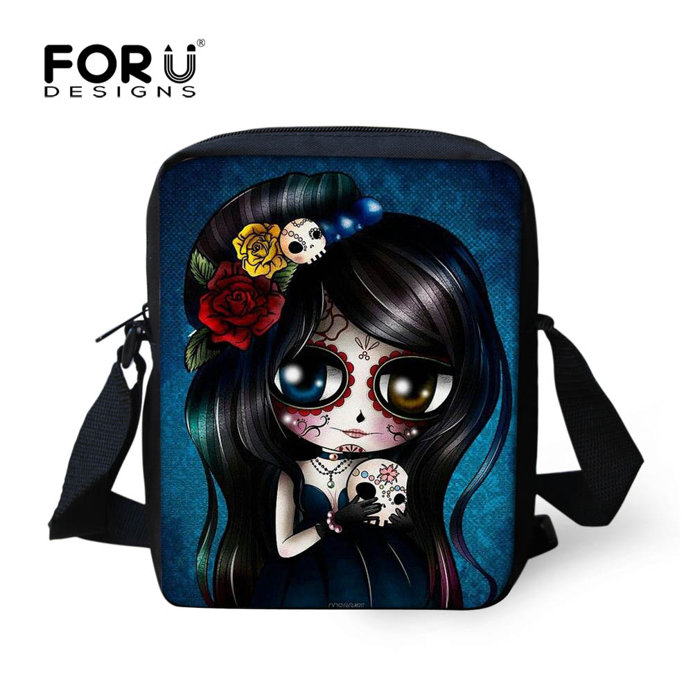 Cool Laldies Small Cartoon Messenger Bag,Women Cute Skull Printed Crossbody Bags,Girl Flower Design Mini Casual Shoulder Bag