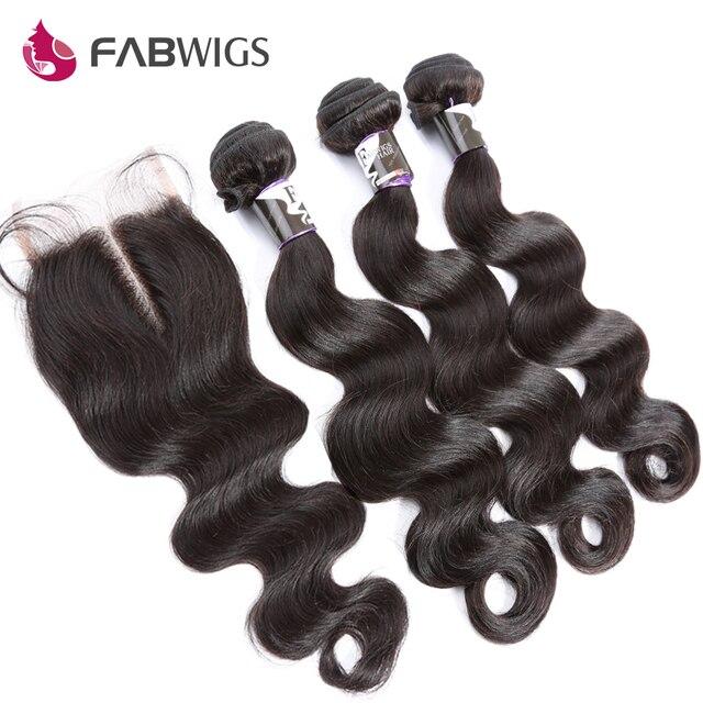 Peruvian Virgin Hair with Closure 3 Bundles with Closure Grade 7A Human Hair Weave with Closure Peruvian Body Wave with Closure