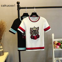 Cakucool New Knit Tshirt Women Summer Thin Cat Patch 3D Floral Embroid Pullover Tee Shirt Femme Slim Sweet Jumper Tops Women