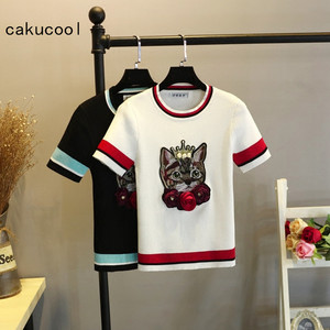 Cakucool New Knit tshirt Women Summer Cat Patch 3D Floral Embroid Pullover Thin Short Sleeve Tee Pull Slim Jumper Tops Femme(China)