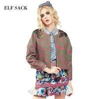 Elf sack 2016 invierno femenina imprimir falda de cola de pescado real de diseño de moda corto cardigan top set