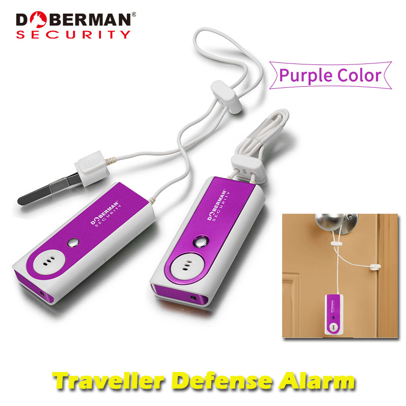 Doberman Security Traveller Defense Alarm Purple Color Security Protection Portable Door Alarm with Flash Light Sensor Detector portable anti theft alarm door portable flashlight sensor alarm detector traveler people bag purse defense alarm led light