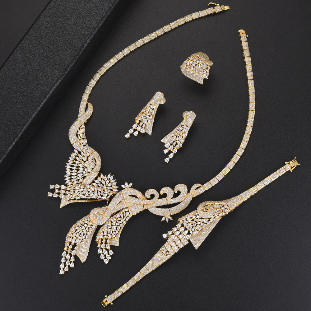 Trendy Nigerian Gold Color Bridal Wedding Pendant necklaces jewelry Sets Collar Necklace Earrings Bracelet Ring Jewelry Sets Trendy Nigerian Gold Color Bridal Wedding Pendant necklaces jewelry Sets Collar Necklace Earrings Bracelet Ring Jewelry Sets