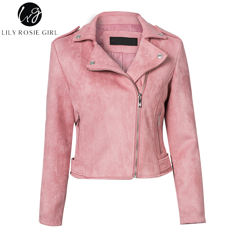 Lily Rosie Girl Casual Zipper Suede Leather Jacket Short Coa