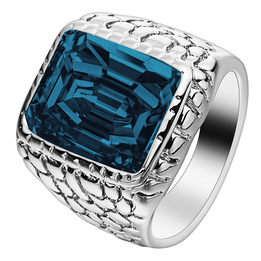 Big Cheap Wedding Rings: Silver Color Large Square Crystal Men Ring Jewelry For