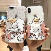 Cartoon Cute Flying Elephant phone Case for iPhone 11 Pro 6 6S 7 8 Plus X Xr Xs MAX dumbo Air Cushion Clear Soft Cover Coque(China)