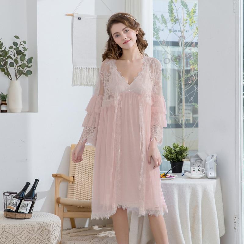 2019 femmes dentelle gaze rayonne femme dentelle Robe peignoir femmes Robes de nuit dames confort Robe pour femmes deux pièces chemise de nuit - 2