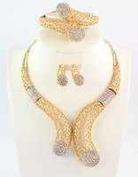 African Beads Jewelry Set Dubai 18K Gold Plated Crystal Women Wedding Party Necklace Bangle Earring Ring