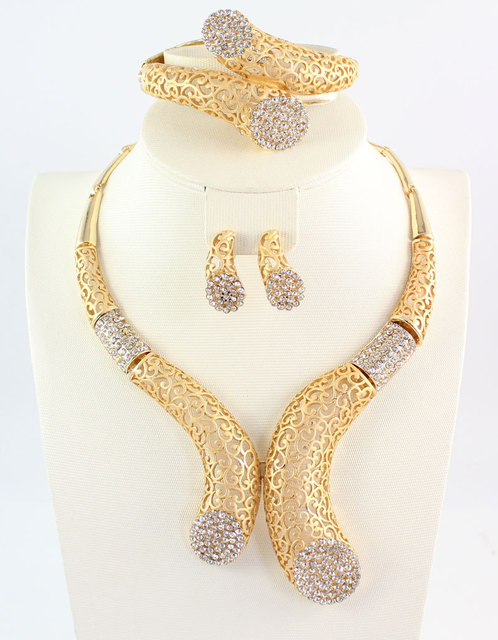 African Beads Jewelry Set Dubai Gold Plated Crystal Women Wedding Party Necklace Bangle Earring Ring Fine Jewelry Sets