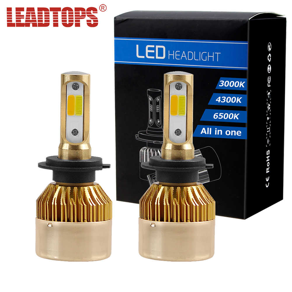 LEADTOPS 3 Color 1 H7 LED Headligts 6000K 4300K 3000K Car Headlamps H1 H3 H4 H8 H9 H11 880 9004 9905 9006 12V 60w CJ