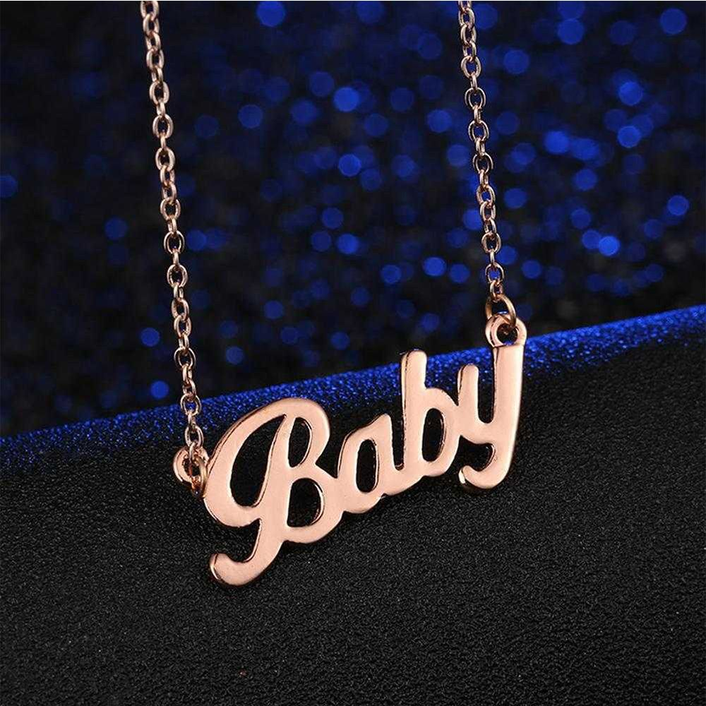 European American Style Women Crystal BABY Letter Choker Necklace Rose Gold Pendant Chain Popular Jewelry Gift Babygirl Collar