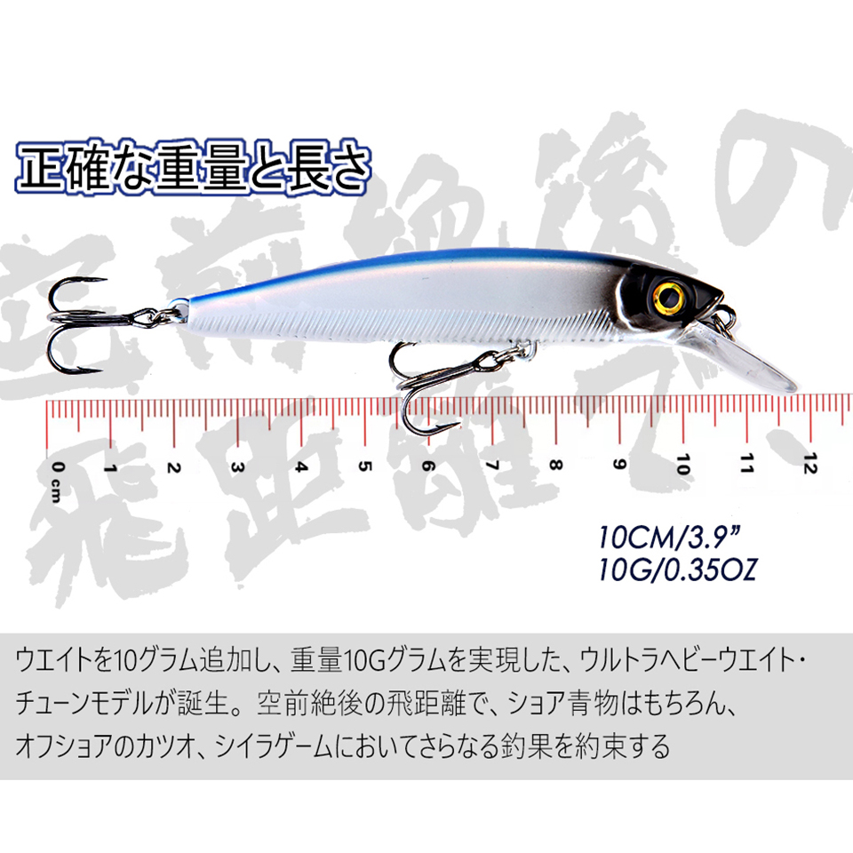 2019 New Arrival 100mm 10g Suspension Minnow Fishing Lures Artificial Floating Jekbait Hard Swim Bait for Pike Bass Predator