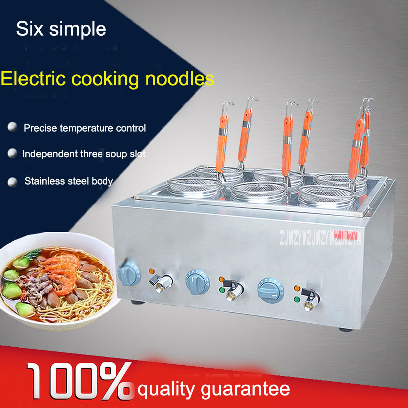 Electric Box 6-basket Commercial Stove Pasta Boiler Noodles Cooking noodles Tank Stainless Malatang Machine With Drain free shipping electric table type noodles cooking machine with ce pasta cooker