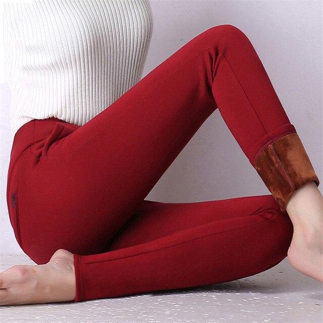Female Thick Velvet Leggings Winter Warm High Waist Leggins Hot Sale Pantalones Mujer Thicken Stretch Skinny Pantalon Femme K128