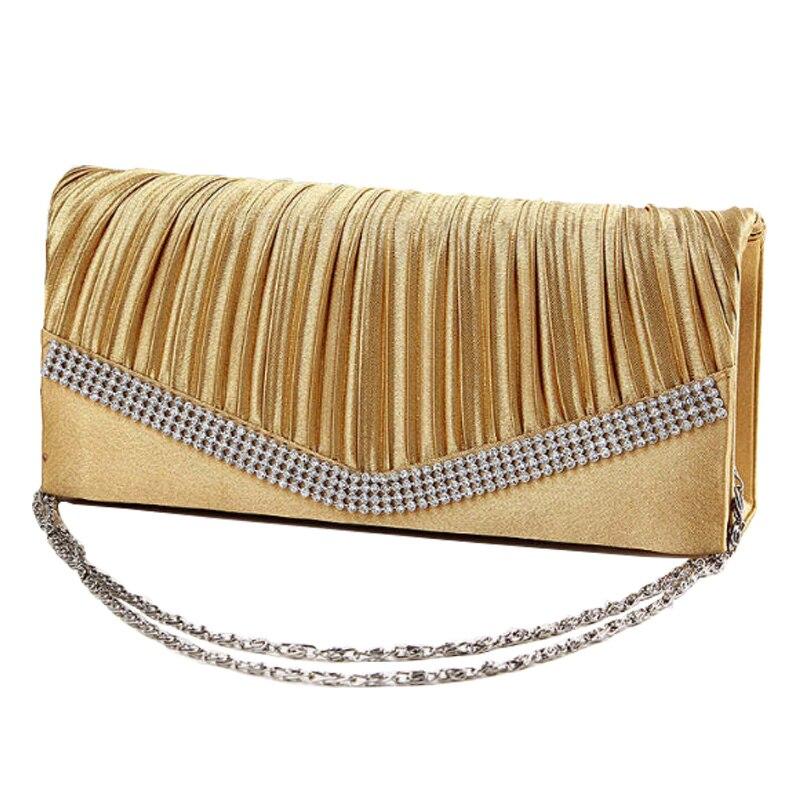 Satén Señoras Embrague Bolsos de Noche de Moda Bing Rhinestone Bolso Del Diseñad