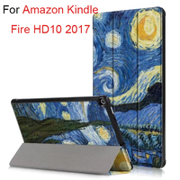 Mangetic Smart Case For Amazon Kindle Fire HD10 2017 Generation 10 1 Inch Tablet Print PU
