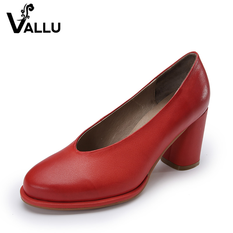 ФОТО 2017 VALLU Genuine Leather Women Pumps Round Toes Chunky Heels Women High Heel Shoes Hnadmade Retro Style Three Color
