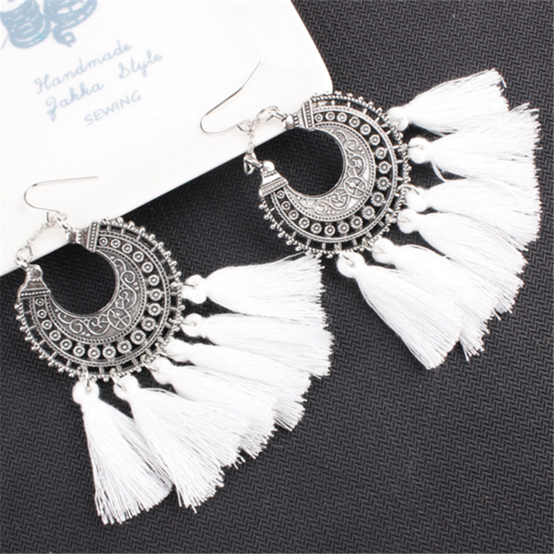 New 10 Colors New Bohemian Retro Long Tassel Earrings Vintage Exaggerated Dangle Earrings For Women Statement Fashion Jewelry