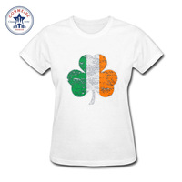 2017 Various Colors Funny Cotton Vintage Irish Flag Shamrock Funny T Shirt Women
