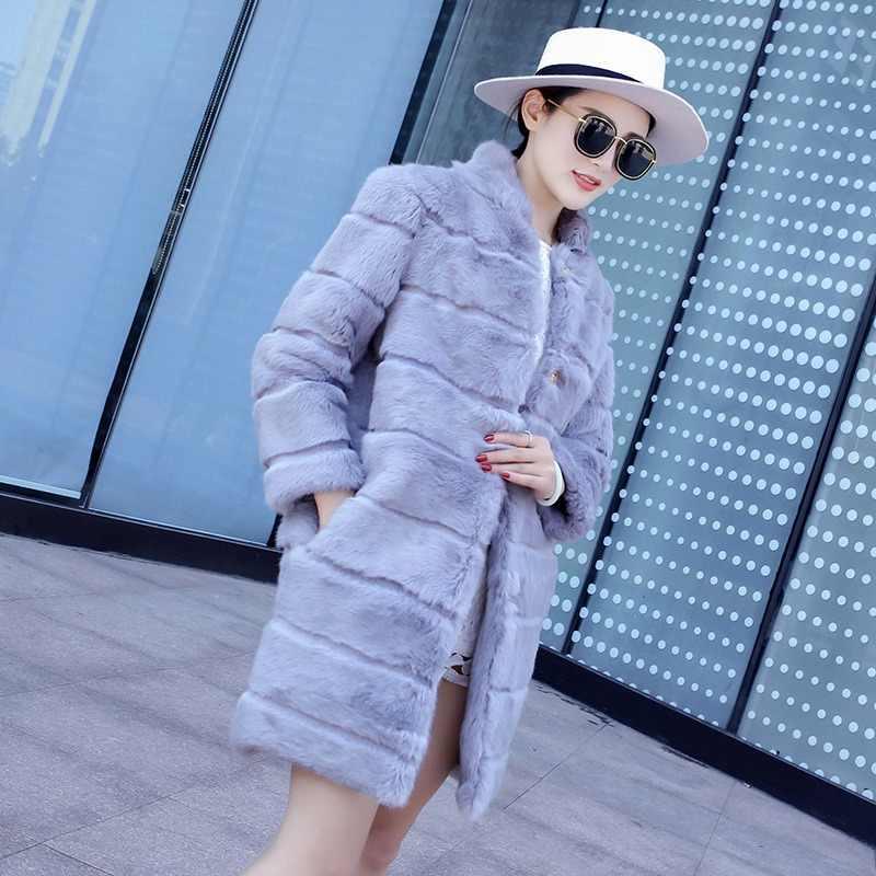 Bayan Gerçek Wholeskin Tavşan Kürk Ceket Mandarin Yaka Kış Hakiki Kadın Kürk Kabanlar Palto Artı Boyutu LF5166