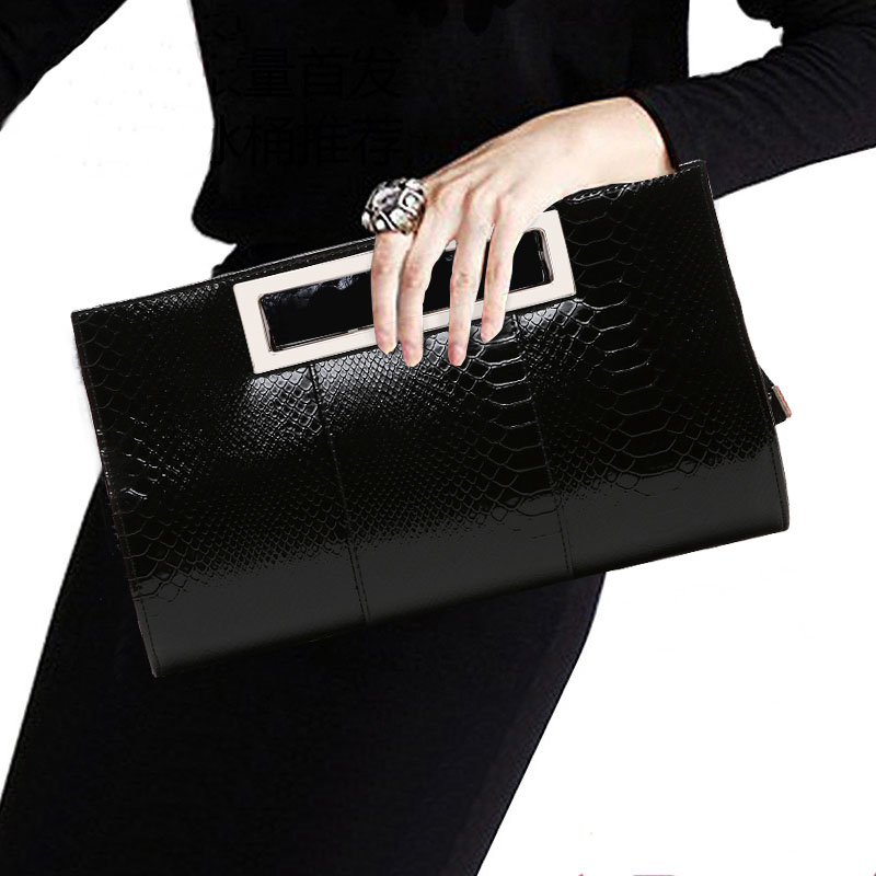 Crocodile Clutch Purse Luxury Party Evening Bag Patent Leather Bride Wedding Shoulder Bag for Women Chain Messenger Bag Clutches 2017 new mini shoulder messenger bag famous brand luxury elegant bead evening bag clutch pearl handbag bride bags for wedding