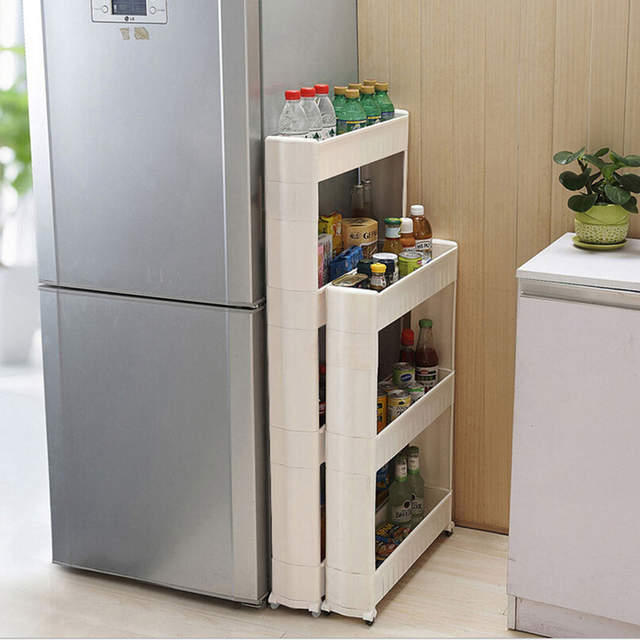US $30.57 31% OFF 1 Pc White Gap Storage Shelf For Kitchen Storage Skating  Movable Plastic Bathroom Shelf Save Space 3/4 layers High Quality-in ...