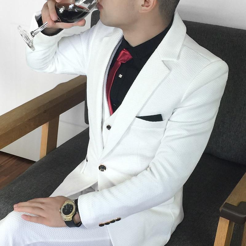 Más el tamaño 5xl traje masculino conjunto vestido formal Blanco - Ropa de hombre - foto 1