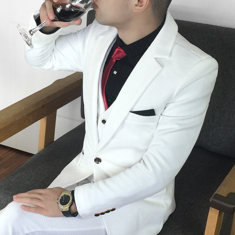 Plus Size 5xl Male Suit Set Formal Dress White Groom Tuxedos