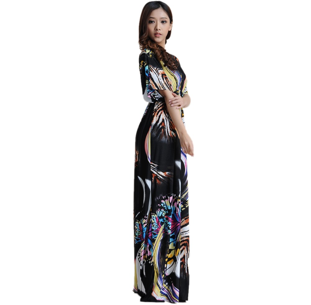 01af1424d6859 Women Summer Boho dress Vestidos Largos Robe Femme Beach Dress Plus Size  6XL Bohemian Maxi Dress-in Dresses from Women's Clothing & Accessories