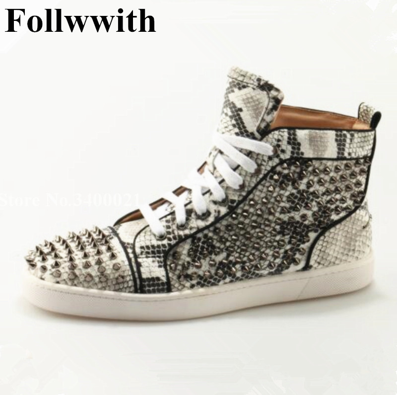 2018 Follwwith Zapatos Hombre Spikes Rivets Snakeskin Leather Flats Platform High Top Mens Ankle Boots Lace Up Men Casual Shoes pu leather punk hip hop shoes men white solid color shoes platform flats fashion lace zipper man high top casual zapatos hombre