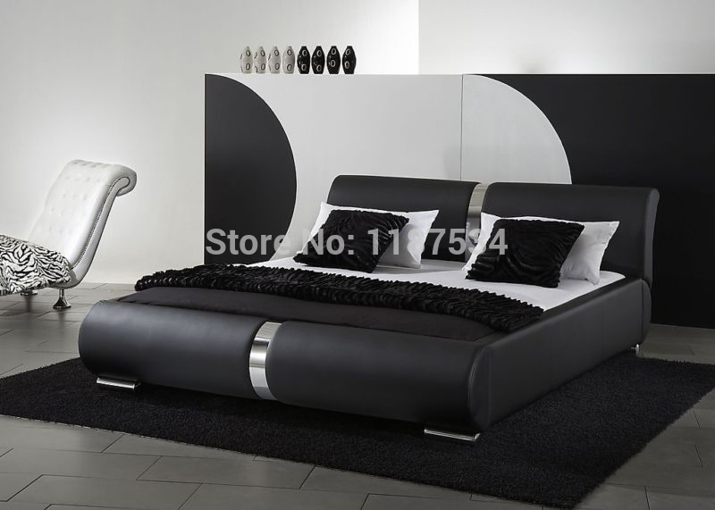 comfortable bed PU+PVC modern soft bed leather soft bed large size bed-C312 bed