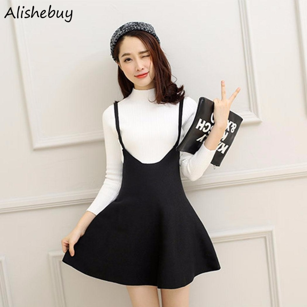 Retro Women Suspender Skirts Mini Girl Ruffles Skater Skirt Summer Straps Pleated Short Braces Skirt Faldas jupe Black SVH034188