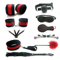 10 Pieces Adult Sex Product Set Bondage Restraints Adult Games Sex Toys for Couple Handcuffs for Sex Slave Game Whip Flirt