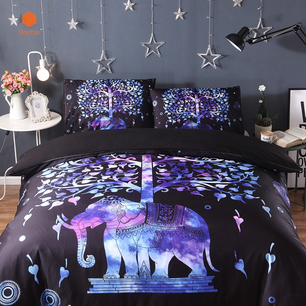New Blue TreeElephant 3Pcs 2Pcs 3D bedding sets Mandala duvet cover set Summer spring Pillowcase queen king size Bedlinen sj59 in Bedding Sets from Home Garden
