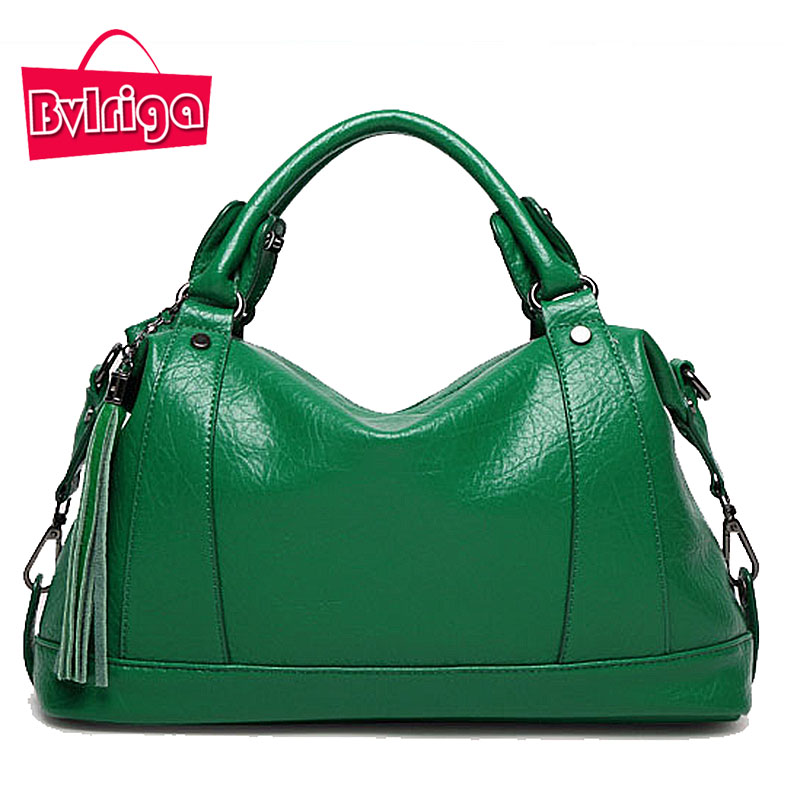 BVLRIGA Boston Women Bag Tassel Ladies Leather Bag Litchi Women Messenger Bags H