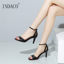 Sandals Women Leather Summer Shoes High Heels White Black 7.5cm