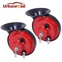 Urbanroad 2Pcs Pair 12v Loud Klaxon Car Horn Sounds Siren Snail Electric Horn Claxon For Car