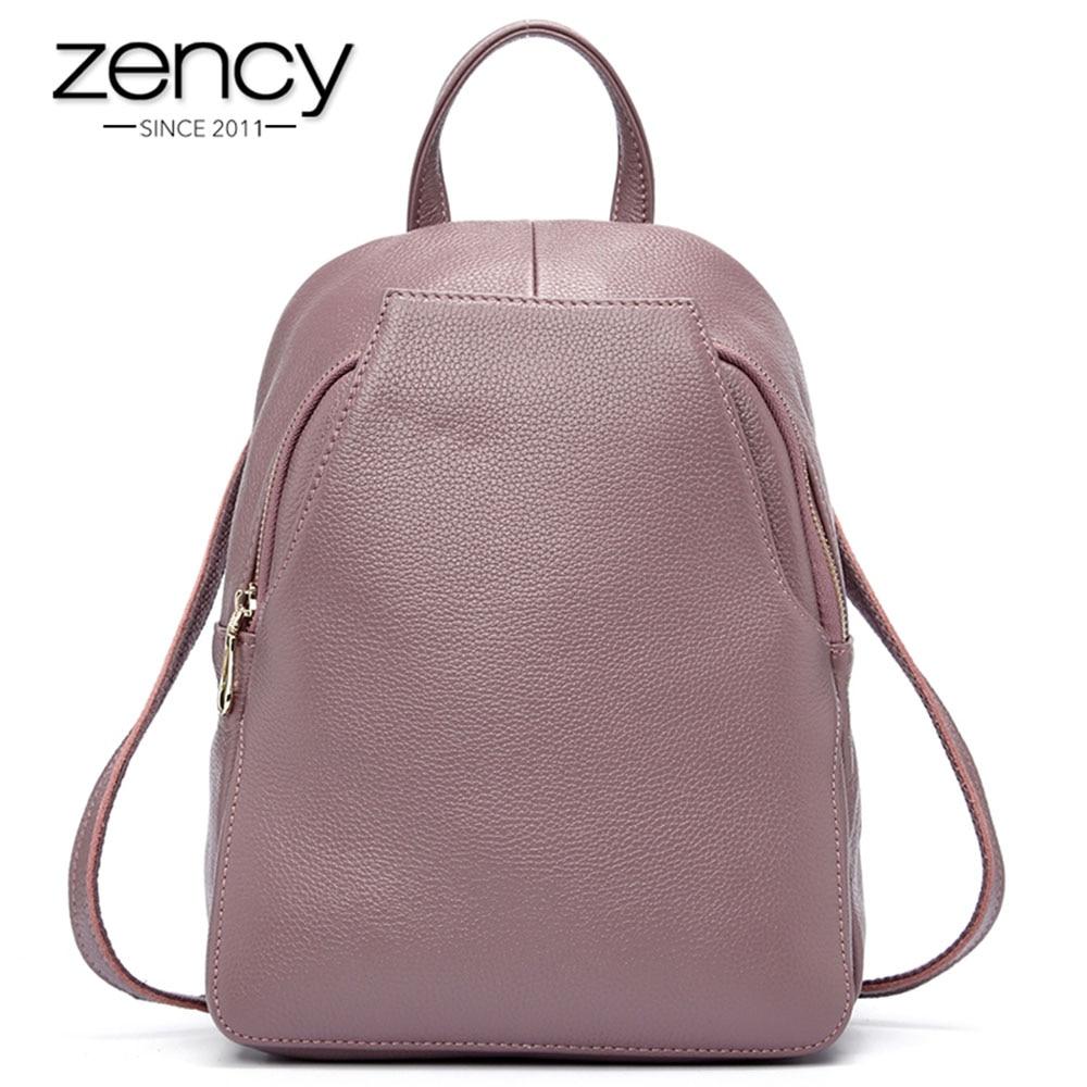 Zency encanto mujeres mochila 100% cuero genuino botón antirrobo - Mochilas