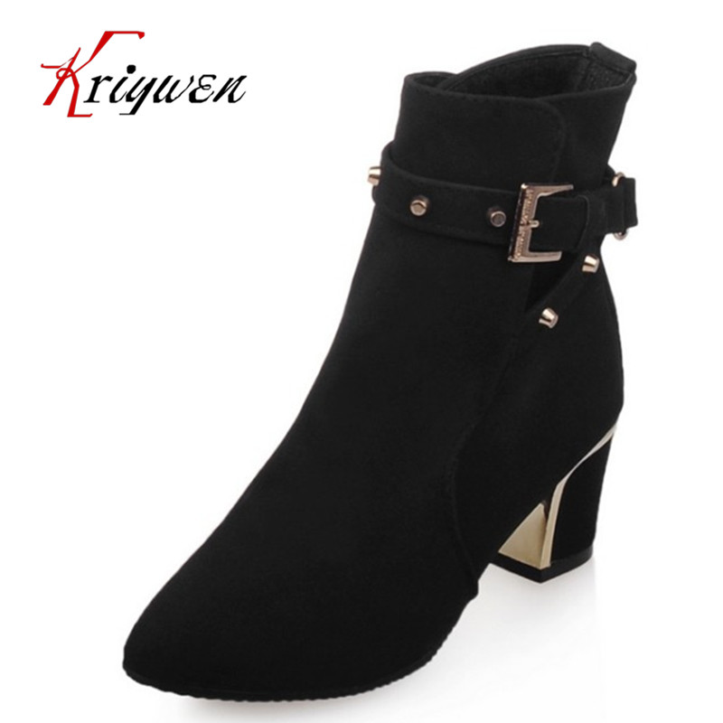 small size 32-43 Autumn winter 2017 woman shoes pointed toe fashion women ankle boots flock high heels zipper motorcycle boots enmayla ankle boots for women low heels autumn and winter boots shoes woman large size 34 43 round toe motorcycle boots