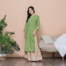 Dress Kurtas-Print India Pants Green-Top Long Cotton Woman And Fashion Ethnic-Styles-Sets