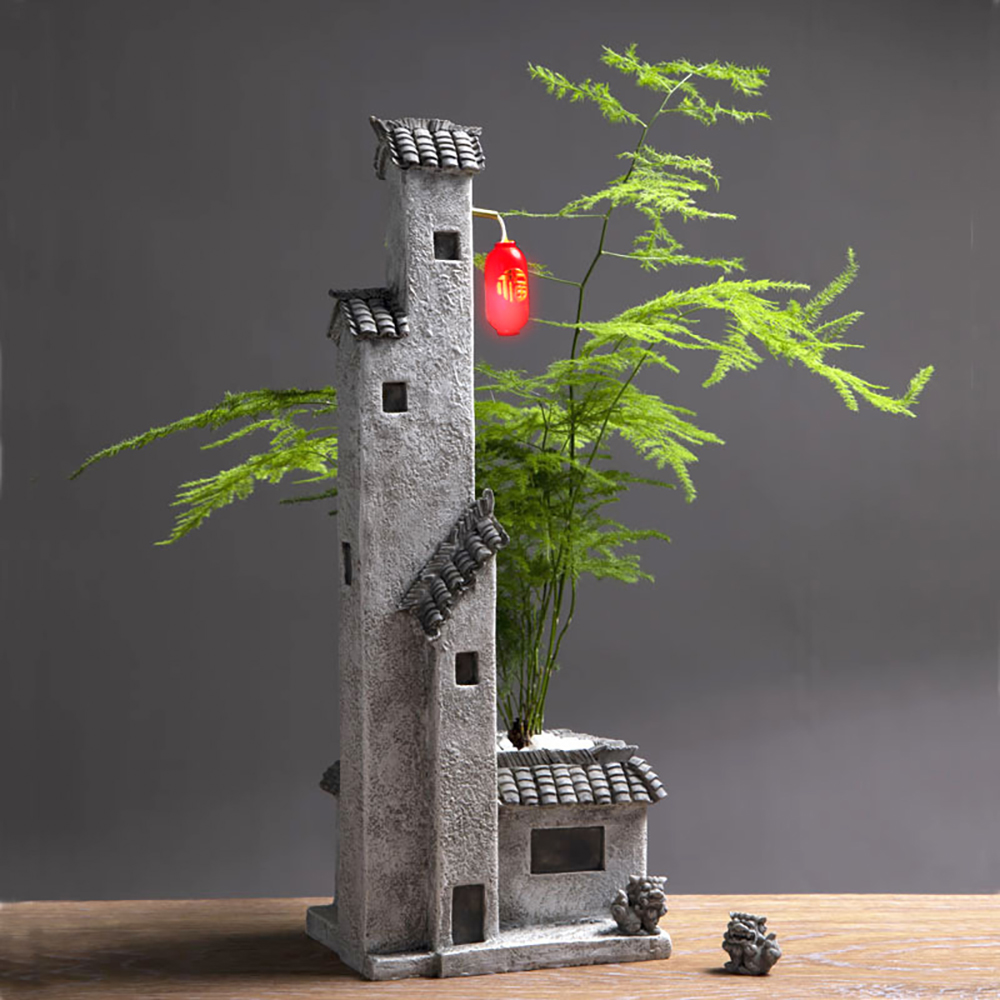 >Asian Chinese <font><b>Japanese</b></font> <font><b>House</b></font> with Garden <font><b>Style</b></font> Miniarure Fairy Garden Planter Flower Pot Decorative Bonsai Zen Antique with LED